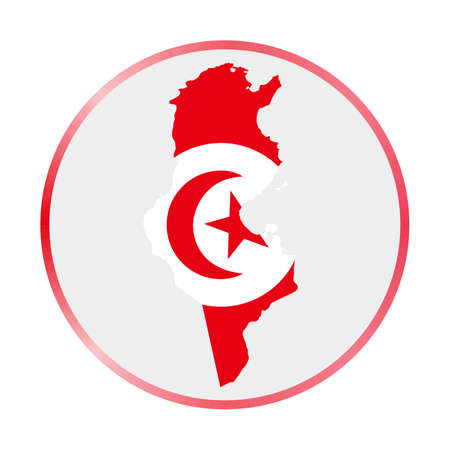 Tunisia icon. Shape of the country with Tunisia flag. Round sign with flag colors gradient ring. Artistic vector illustration. 向量圖像