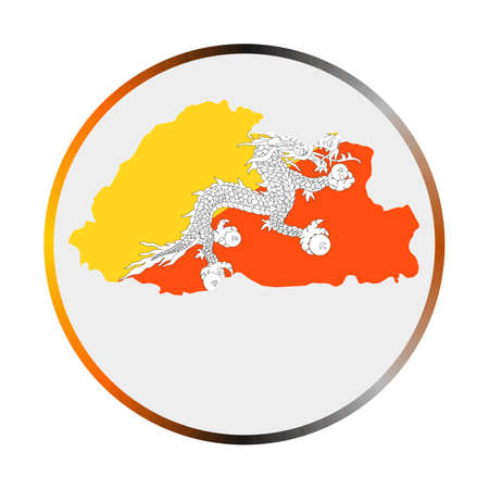 Bhutan icon. Shape of the country with Bhutan flag. Round sign with flag colors gradient ring. Artistic vector illustration. 向量圖像