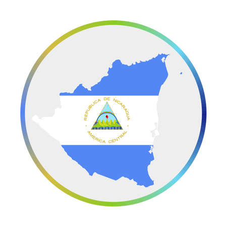 Nicaragua icon. Shape of the country with Nicaragua flag. Round sign with flag colors gradient ring. Astonishing vector illustration. Ilustração