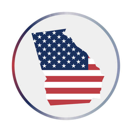 Georgia icon. Shape of the us state with Georgia flag. Round sign with flag colors gradient ring. Stylish vector illustration.