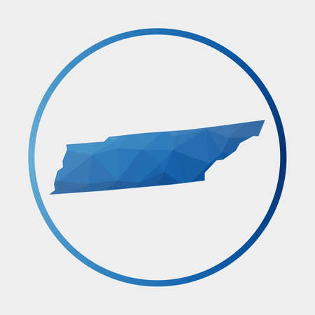 Tennessee icon. Polygonal map of the us state in gradient ring. Round low poly Tennessee sign. Vector illustration.