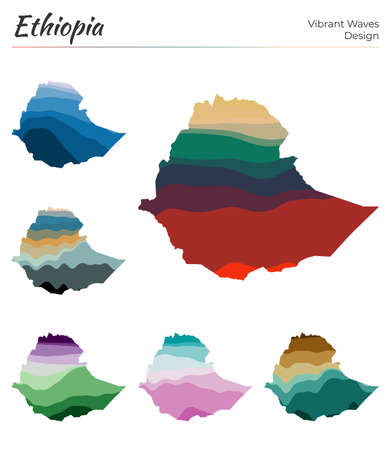 Set of vector maps of Ethiopia. Vibrant waves design. Bright map of country in geometric smooth curves style. Multicolored Ethiopia map for your design. Creative vector illustration.