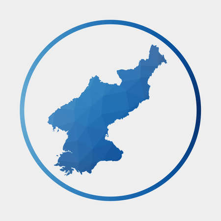North Korea icon. Polygonal map of the country in gradient ring. Round low poly North Korea sign. Vector illustration.