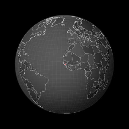 Dark globe centered to Guinea-Bissau. Country highlighted with red color on world map. Satellite world projection. Radiant vector illustration.