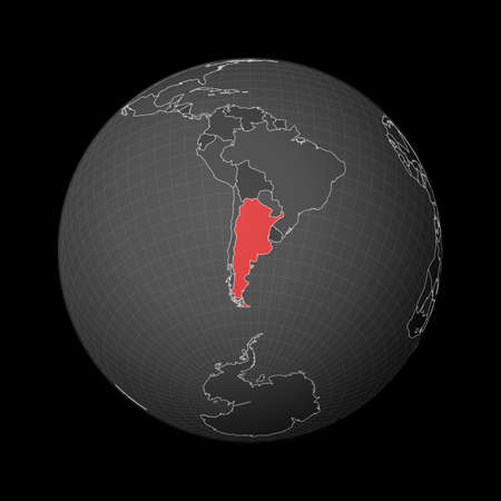 Dark globe centered to Argentina. Country highlighted with red color on world map. Satellite world projection. Attractive vector illustration.