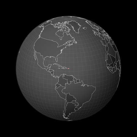 Dark globe centered to Puerto Rico. Country highlighted with red color on world map. Satellite world projection. Powerful vector illustration. Ilustração