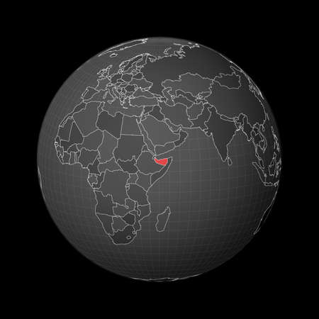 Dark globe centered to Somaliland. Country highlighted with red color on world map. Satellite world projection. Classy vector illustration. 일러스트