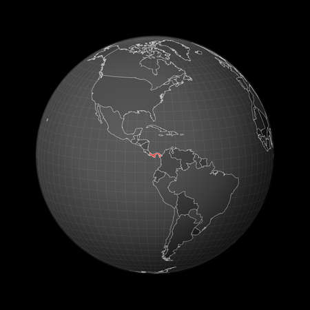 Dark globe centered to Panama. Country highlighted with red color on world map. Satellite world projection. Cool vector illustration.