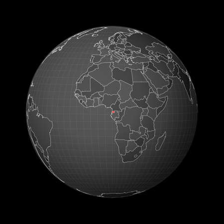 Dark globe centered to Equatorial Guinea. Country highlighted with red color on world map. Satellite world projection. Stylish vector illustration. 일러스트