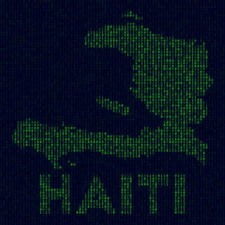 Country symbol in hacker style. Binary code map of Haiti with country name. Charming vector illustration.