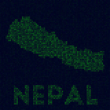 Country symbol in hacker style. Binary code map of Nepal with country name. Elegant vector illustration.