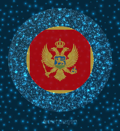 Round Montenegro badge. Flag of Montenegro in glowing network mesh style. Country network logo. Elegant vector illustration.