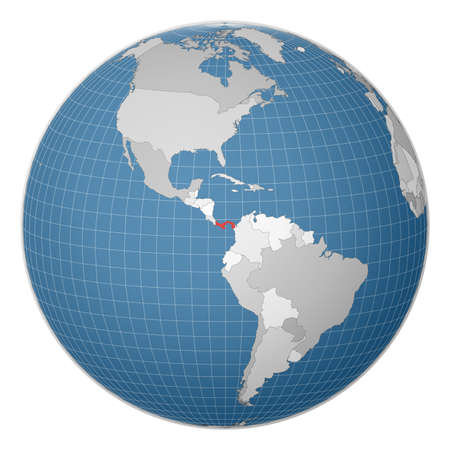 Globe centered to Panama. Country highlighted with green color on world map. Satellite world projection. Classy vector illustration. Illusztráció