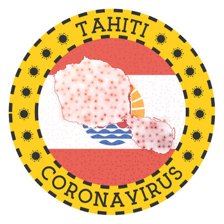 Coronavirus in Tahiti sign. Round badge with shape of Tahiti. Yellow island lock down emblem with title and virus signs. Vector illustration.