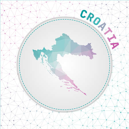 Vector polygonal Croatia map. Map of the country with network mesh background. Croatia illustration in technology, internet, network, telecommunication concept style . Captivating vector illustration.  イラスト・ベクター素材