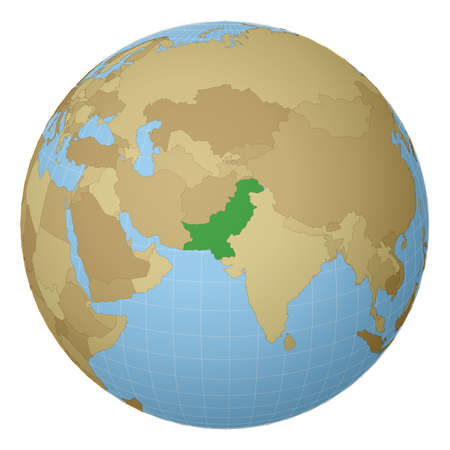 Globe centered to Pakistan. Country highlighted with green color on world map. Satellite projection view. Vector illustration.