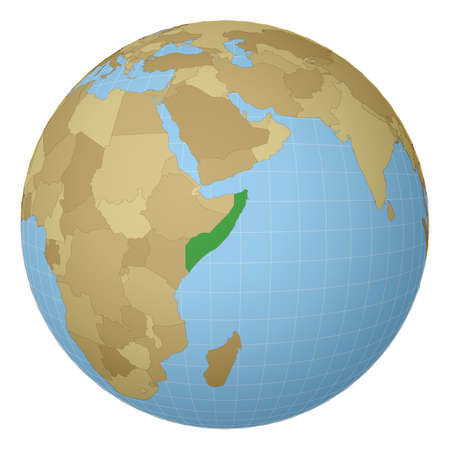 Globe centered to Somalia. Country highlighted with green color on world map. Satellite projection view. Vector illustration. Illustration