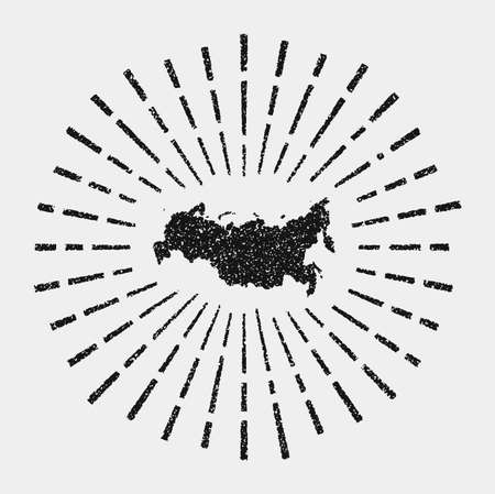 Vintage map of Russia. Grunge sunburst around the country. Black Russia shape with sun rays on white background. Vector illustration.
