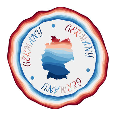 Germany badge. Map of the country with beautiful geometric waves and vibrant red blue frame. Vivid round Germany logo. Vector illustration.