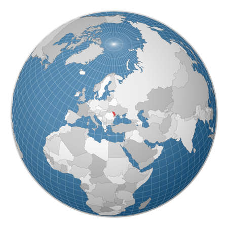 Globe centered to Moldova. Country highlighted with green color on world map. Satellite world projection. Captivating vector illustration.