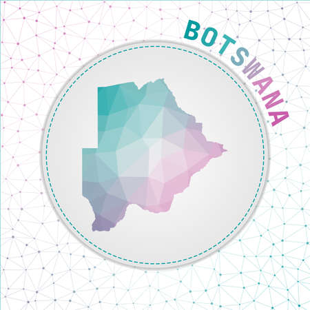 Vector polygonal Botswana map. Map of the country with network mesh background. Botswana illustration in technology, internet, network, telecommunication concept style . Charming vector illustration.