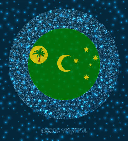 Round Cocos Islands badge. Flag of Cocos Islands in glowing network mesh style. Country network logo. Powerful vector illustration.