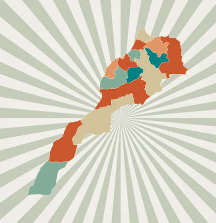 Morocco map. Poster with map of the country in retro color palette. Shape of Morocco with sunburst rays background. Vector illustration.