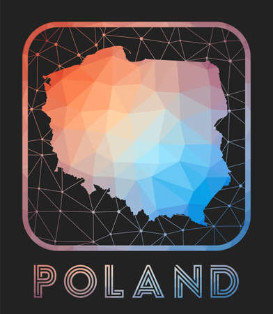 Poland map design. Vector low poly map of the country. Poland icon in geometric style. The country shape with polygnal gradient and mesh on dark background.