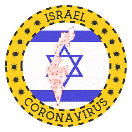 Coronavirus in Israel sign. Round badge with shape of Israel. Yellow country lock down emblem with title and virus signs. Vector illustration.