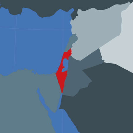 Shape of the Israel in context of neighbour countries. Country highlighted with red color on world map. Israel map template. Vector illustration. Ilustração