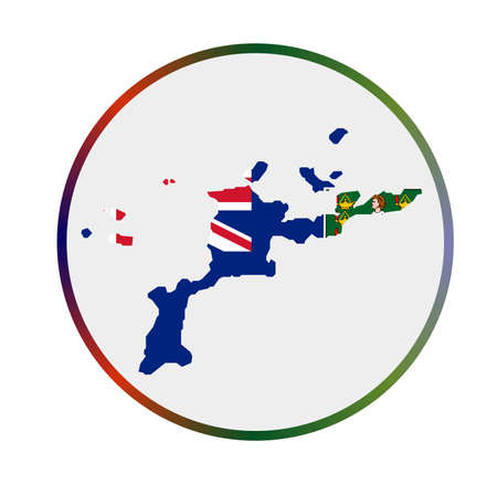 Virgin Gorda icon. Shape of the island with Virgin Gorda flag. Round sign with flag colors gradient ring. Astonishing vector illustration.