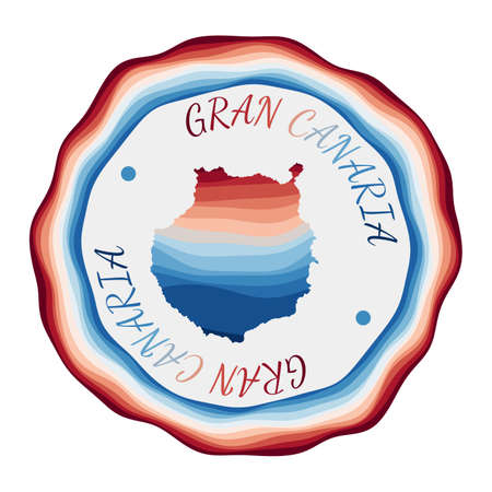Gran Canaria badge. Map of the island with beautiful geometric waves and vibrant red blue frame. Vivid round Gran Canaria logo. Vector illustration. Illustration