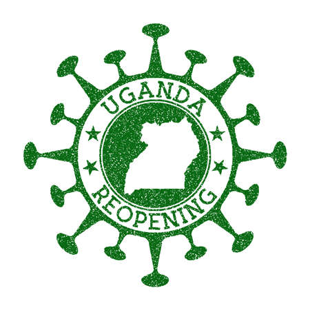 Uganda Reopening Stamp. Green round badge of country with map of Uganda. Country opening after lockdown. Vector illustration.