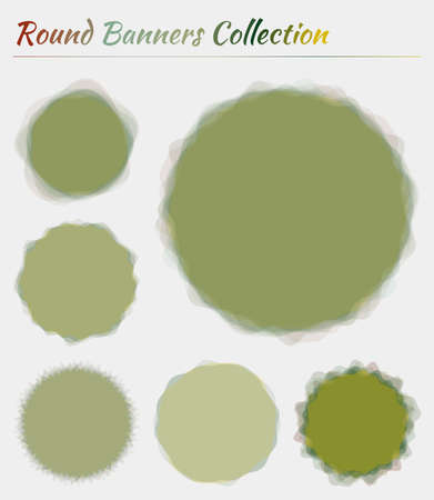 Round logos collection. Circular backgrounds in red green colors. Appealing vector illustration. Logo