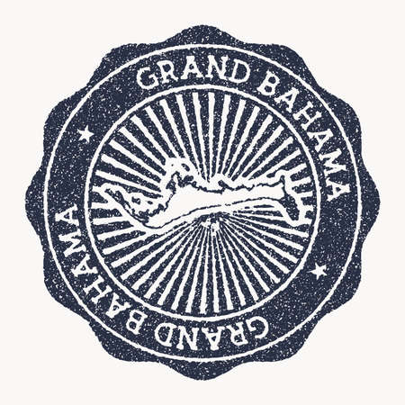 Grand Bahama stamp. Travel rubber stamp with the name and map of island, vector illustration. Can be used as insignia, logotype, label, sticker or badge of the Grand Bahama.