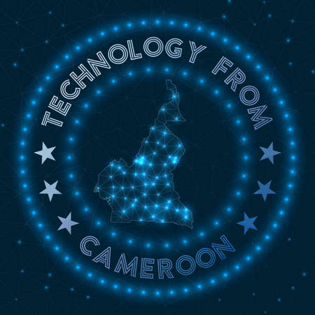 Technology From Cameroon. Futuristic geometric badge of the country. Technological concept. Round Cameroon. Vector illustration. 矢量图像
