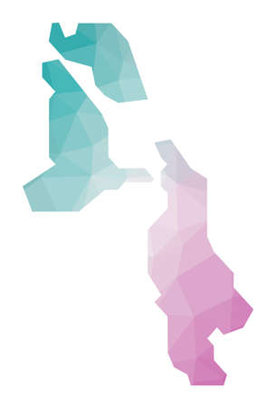 Polygonal map of Pig Beach. Geometric illustration of the island in emerald amethyst colors. Pig Beach map in low poly style. Technology, internet, network concept. Vector illustration.