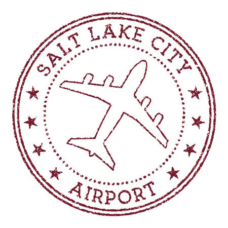 Salt Lake City Airport stamp. Airport of Salt Lake City round. Vector illustration. Vettoriali