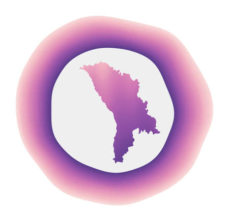 Moldova icon. Colorful gradient of the country. Purple red Moldova rounded sign with map for your design. Vector illustration.