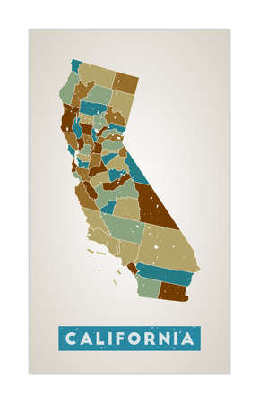 California map. Us state poster with regions. Old grunge texture. Shape of California with us state name. Artistic vector illustration.