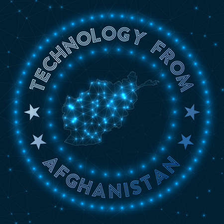 Technology From Afghanistan. Futuristic geometric badge of the country. Technological concept. Round Afghanistan. Vector illustration. 矢量图像
