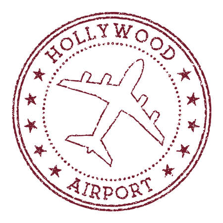 Hollywood Airport stamp. Airport of Fort Lauderdale round logo. Vector illustration. 向量圖像