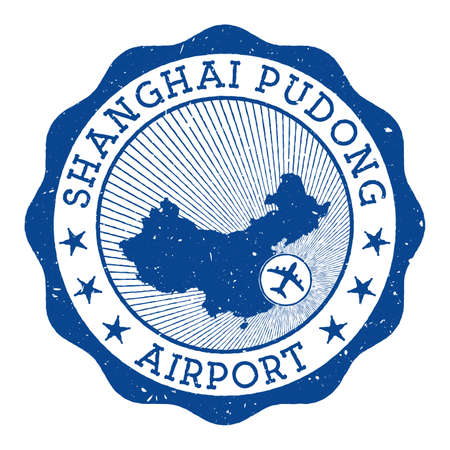 Shanghai Pudong Airport stamp. Airport of Shanghai round with location on China map marked by airplane. Vector illustration. Vettoriali