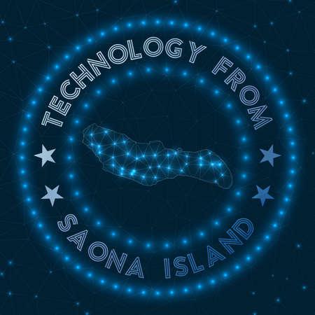 Technology From Saona Island. Futuristic geometric badge of the island. Technological concept. Round Saona. Vector illustration.