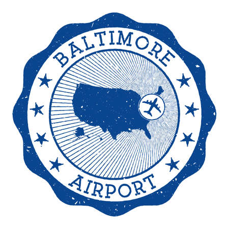 Baltimore Airport stamp. Airport of Baltimore round  with location on United States map marked by airplane. Vector illustration.