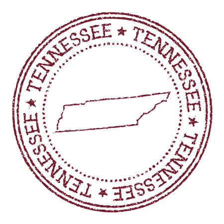 Tennessee round rubber stamp with us state map. Vintage red passport stamp with circular text and stars, vector illustration.