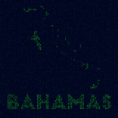 Digital Bahamas . Country symbol in hacker style. Binary code map of Bahamas with country name. Appealing vector illustration. 矢量图像