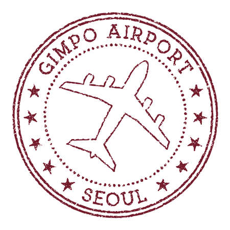 Gimpo Airport Seoul stamp. Airport of Seoul round . Vector illustration.