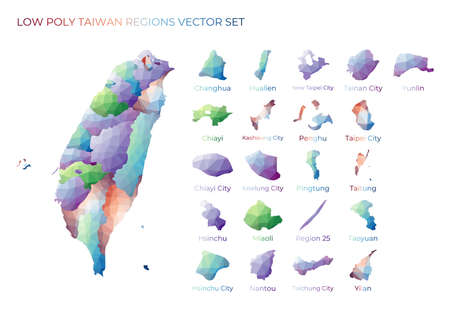 Taiwanese low poly regions. Polygonal map of Taiwan with regions. Geometric maps for your design. Creative vector illustration. Illusztráció
