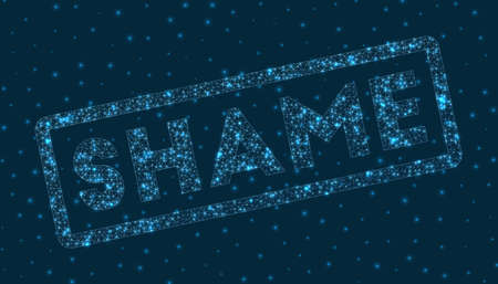 Shame word in digital style. Glowing geometric shame badge. Modern vector illustration. 일러스트